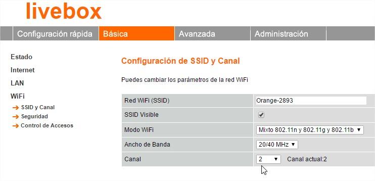 configuración de canal en el router