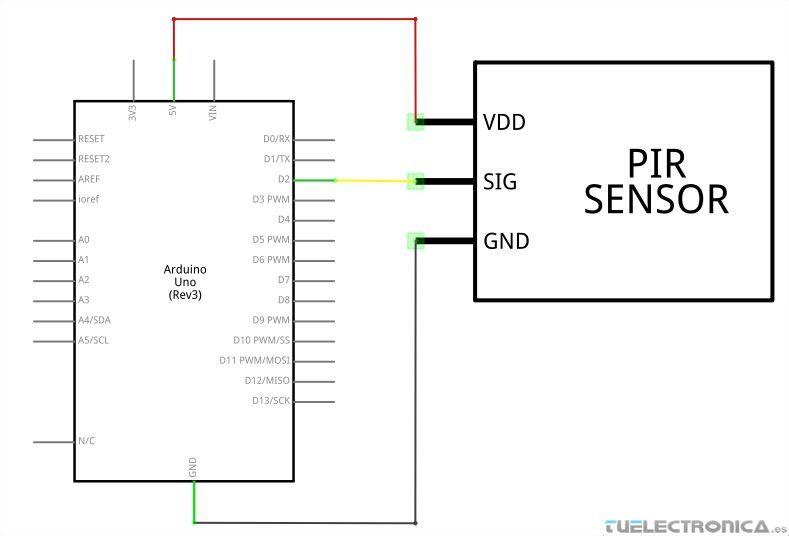 esquema electrico arduino y sensor pir