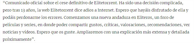 elitetorrent comunicado